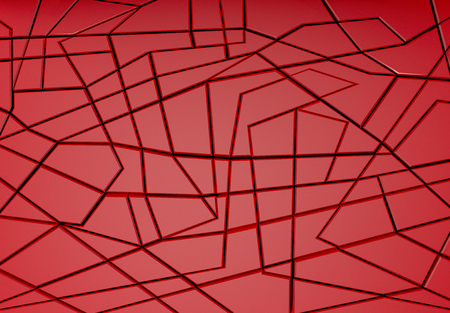 3d rendering. Modern luxury red color cut square shape in several pattern wall background. Reklamní fotografie