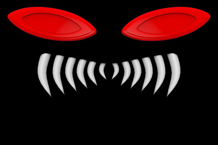 3d rendering. scary halloween devil eyes and tooth on black background. Zdjęcie Seryjne