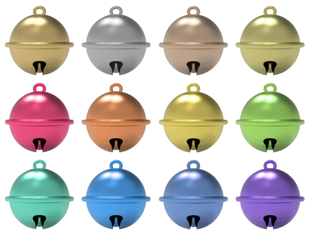 3d rendering. sphere jingle bells collection set isolated on white background.
