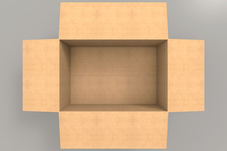 3d rendering. aerial view of empty brown paper box on gray background.