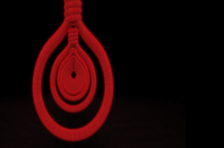 3d rendering. red suicide ropes on copy space black background. horror halloween symbol concept. Stock Photo