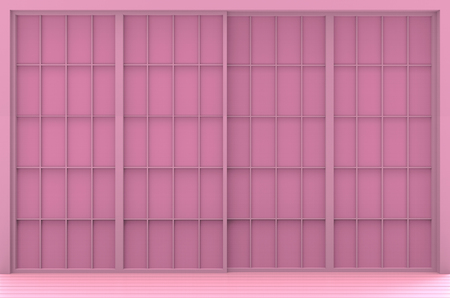 3d rendering. sweet pink japanese style door wall background.