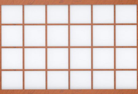 3d rendering. modern asian style square wood frame on white paper wall background.