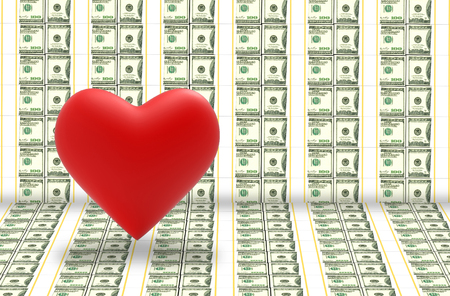 3d rendering. a red heart on US hundred dollar banknote stack wall background. I love money concept.