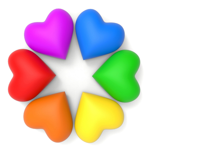 3d rendering. lgbt rainbow colorful heart shape on copy space white background.