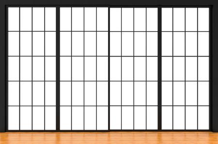 3d rendering. modern japanese style sliding paper door wall background.