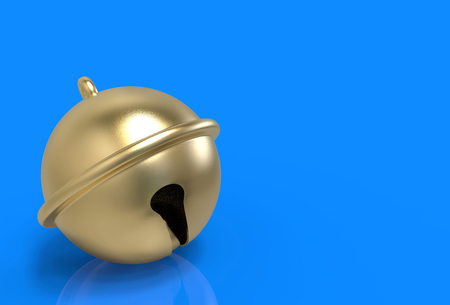 3d rendering. golden jingle bell on blue copy space background.