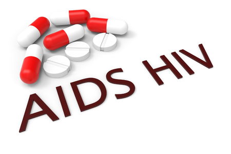 3d rendering. medicine pills for AIDS or HIV treatment concept background.
