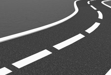 3d rendering. empty curve asphalt street road background. 写真素材 - 110011767