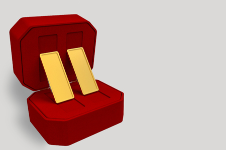 3d rendering. two gold bar present in velvet luxury red box on copy space gray background.