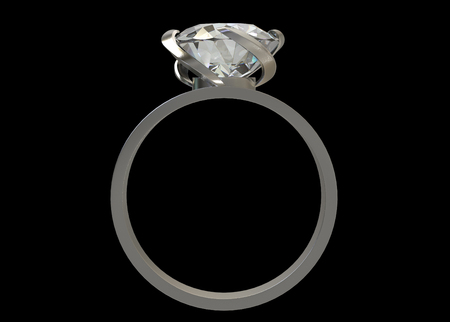 3d rendering. front view of luxury design diamond ring on dark background  .