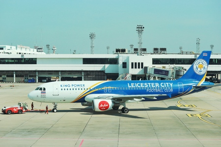 2018 December 14. Bangkok Thailand. An air Asia airline with Leicester city football club logo paint prepare for taking off from Don muang international airport.