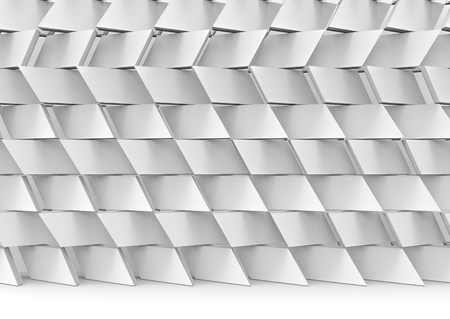 3d rendering. Abstract modern random gray trapezoid pattern ceramic stack wall background. Stock Photo - 115809027