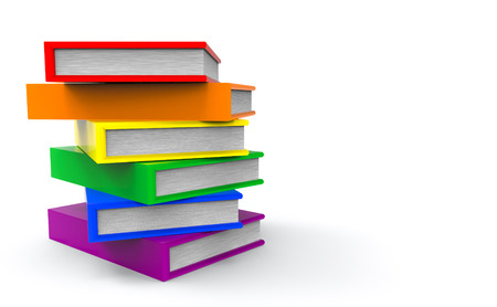 3d rendering. lgbt rainbow color style books on gray copy space background.