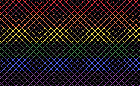 3d rendering. lgbt rainbow color style metal mesh with clipping path isolated on black background. Reklamní fotografie