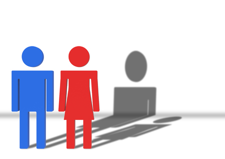 3d rendering. Male and female Gender sign with Man shadow is higher than woman. Gender pay gap concept. 写真素材 - 115944296