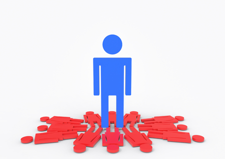 3d rendering. A big blue male standing on group of red female gender sign. gender pay gap concept