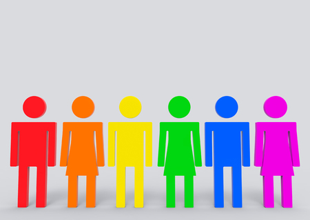 3d rendering. LGBT rainbow color on each male and female icon symbol white copy space gray wall as background.