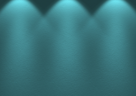 3d rendering. modern blue cerulean tone cement wall with light from lamps background.