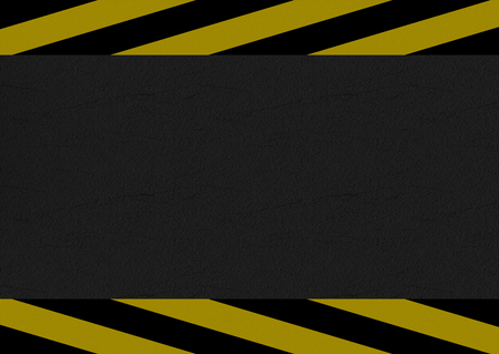 3d rendering. black and yellow caution line on cement road background. Stock Photo