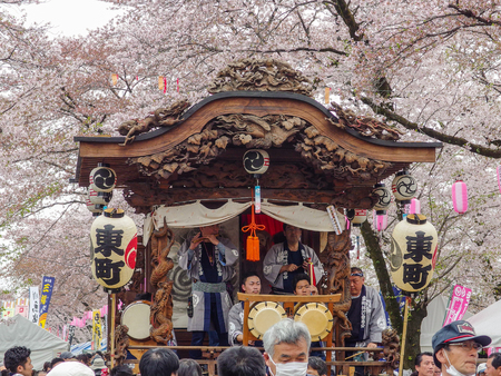 2016 April 10. Tokyo Japan. A japanese traditional music show with enjoy people at Hamura city Cherry blossom sakura festival.