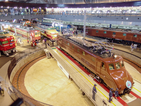 2015 October 18. SAITAMA JAPAN. retro japanese railways trians showing in JR museum Saitama.