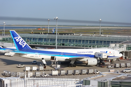 2017 MAY 09. TOKYO JAPAN. ANA airline airplane parking at HANEDA international airport. Editöryel