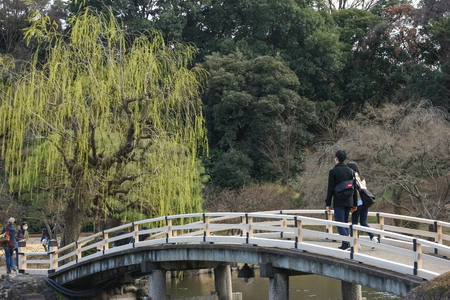 2017 MARCH 18. TOKYO JAPAN. A Japanese couple walking along the bridge among natural tree at SHINJUKU GYOEN national garden.