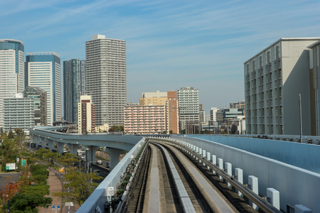 2017 November 03.TOKYO JAPAN. A railway of YURIKAMOME line view from front window train while running among tokyo city.