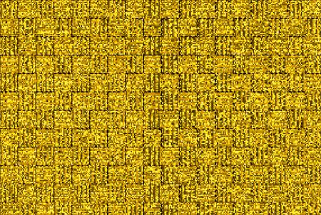 3d rendering. golden small sqaure pixel bit shape block wall background.