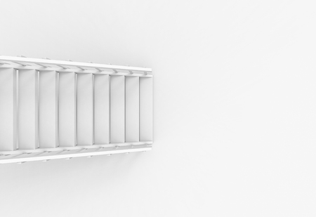 3d rendering. aerial view of modern white stair ladder case on copy space floor background. Stockfoto - 123085350