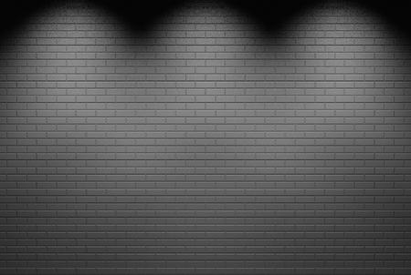 3d rendering. white spot lights shine on gray brick blocks wall background.