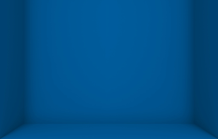 3d rendering. empty dark blue color cube box corner wall background.