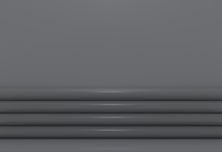 3d rendering. Luxury dark curve panels with copy space gray wall background. Stockfoto