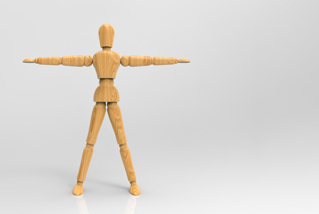 3d rendering. A extend the arms pose wood dummy  with   on gray background. Archivio Fotografico