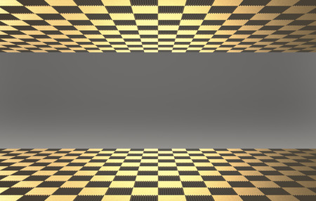 3d rendering. Golden tiles on the floor and upper with gray color wall as background.