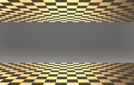 3D-Rendering. Goldene Fliesen auf dem Boden und Obermaterial mit grauer Wand als Hintergrund.