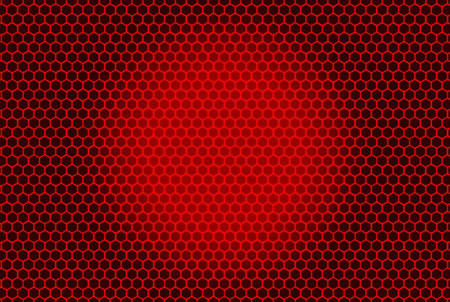 3d rendering. red hexagon pattern mesh wall on red gradient background.
