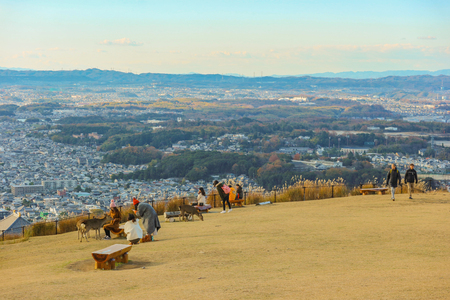 2018 December 08. Nara Japan. Nara city view from Wakakusa mountain national park on evening autumn season time.