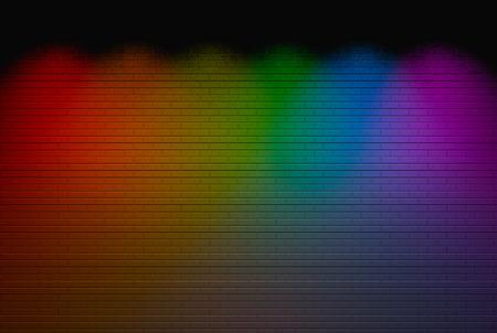 3d rendering. modern Lgbt rainbow color spot ligt shine on brick wall background. Reklamní fotografie