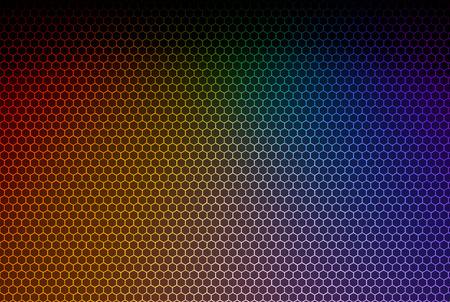 3d rendering. modern Lgbt rainbow color spot ligt shine on hexagon pattern mesh wall background.