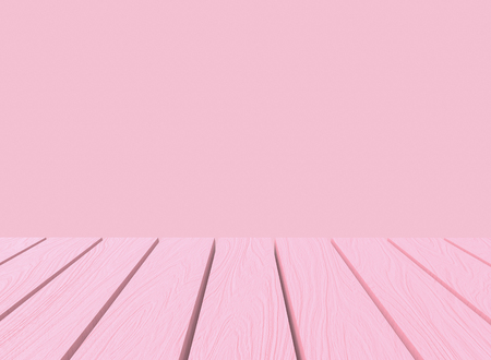 3d rendering. empty sweet soft pastel pink color wood panel table in montage style wall background.