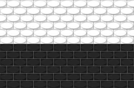 3d rendering. white and black modern oval shape brick blocks pattern art design wall background. 写真素材