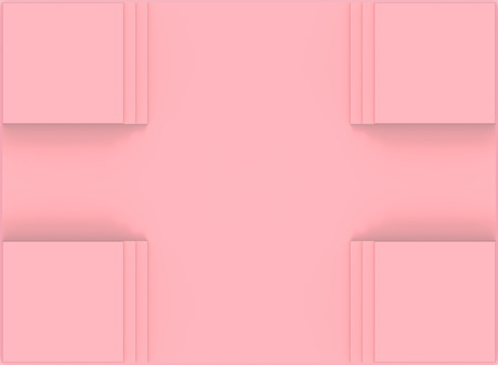 3d rendering. Sweet soft pink square art frame wall background.