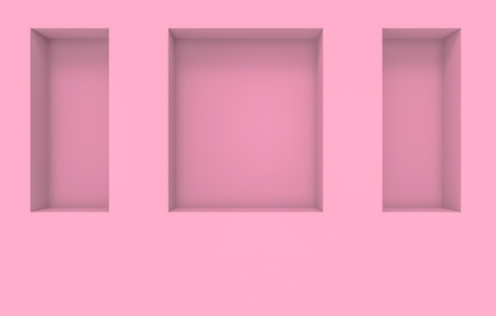 3d rendering. Modern square shape pink hole box pattern on cement wall background.