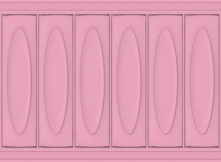 3d rendering. luxury sweet soft pink oval classical pattern wood wall background Reklamní fotografie