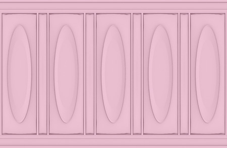 3d rendering. luxury sweet soft pink oval classical pattern wood wall background Imagens