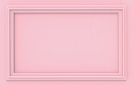 3d rendering. Modern empty sweet pink classical pattern rectangle frame wall background.