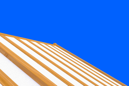 3d rendering. incomplete building new roof wood house construction work with   isolated on blue background.