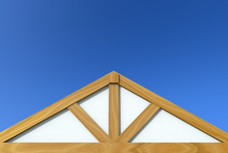 3d rendering. new gable roof wood house construction building work with   isolated on blue sky background. 写真素材